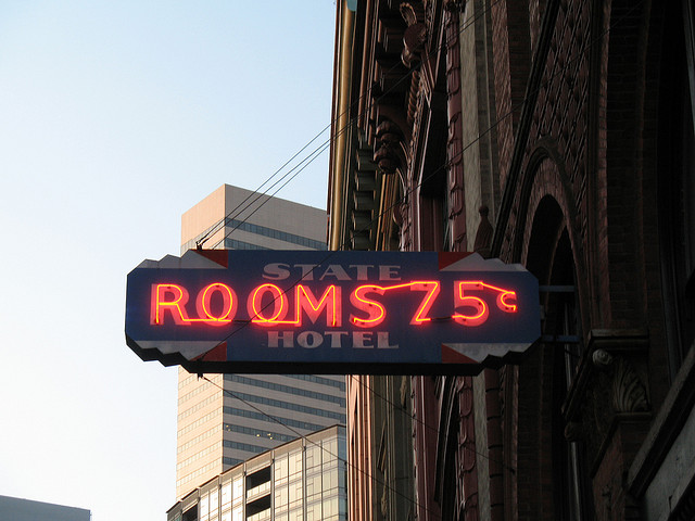 75 Cent Rooms, Pioneer Square. Flickr, jbcurio.